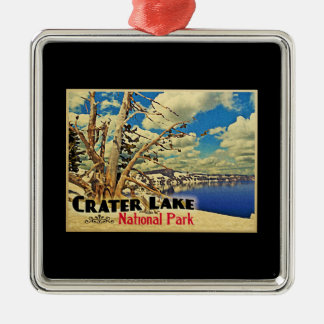 Crater Lake National Park Silver-Colored Square Decoration