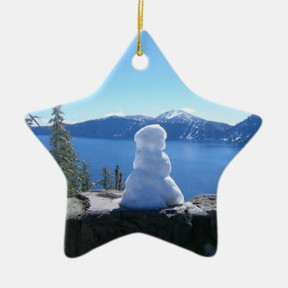 Crater Lake Snowman Ceramic Star Decoration