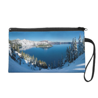 Crater Lake South Central Oregon in Winter Wristlet Purse