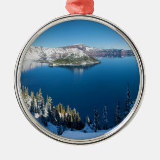 Crater Lake South Central Oregon in Winter Christmas Tree Ornaments