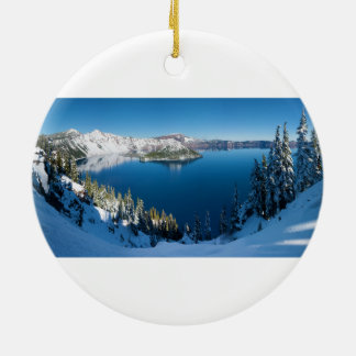 Crater Lake South Central Oregon in Winter Christmas Ornament