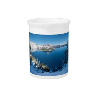 Crater Lake South Central Oregon in Winter Beverage Pitcher