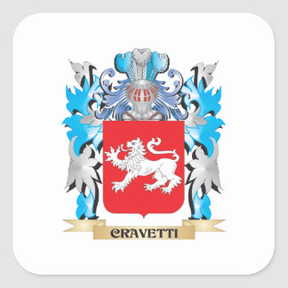 Cravetti Coat of Arms - Family Crest Square Sticker