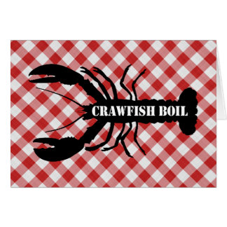 Crawfish Silo on Red & White Checked Cloth Boil Card