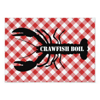 "Crawfish Silo on Red & White Checked Cloth Boil 5"" X 7"" Invitation Card"
