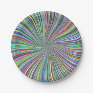 Crayon Box of Colors Spiral Optical Art Paper Plate