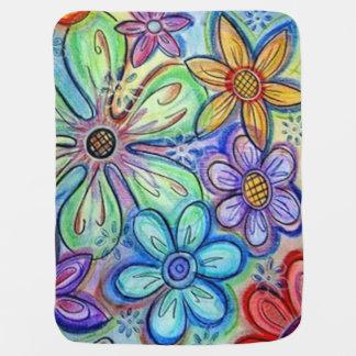 Crayon Flowers Buggy Blanket