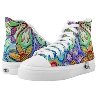 Crayon Flowers Printed Shoes