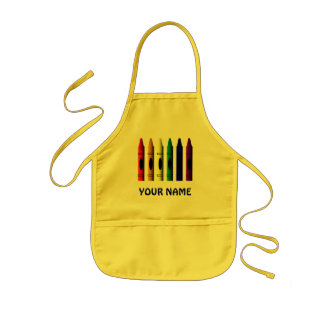 Crayons Name Crayon Kids Yellow Custom Apron