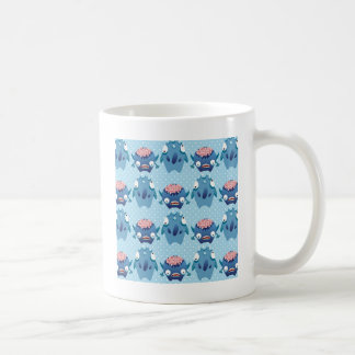 Crazy Blue Monsters Fun Creatures Gifts for Kids Basic White Mug