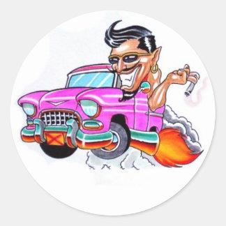 crazy car round sticker