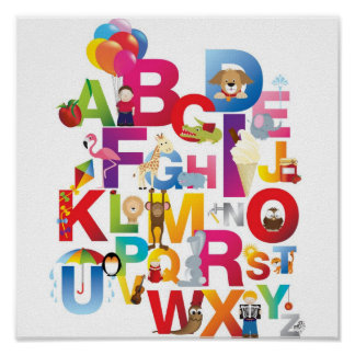 crazy cartoon alphabet framed print