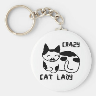 Crazy cat lady basic round button key ring