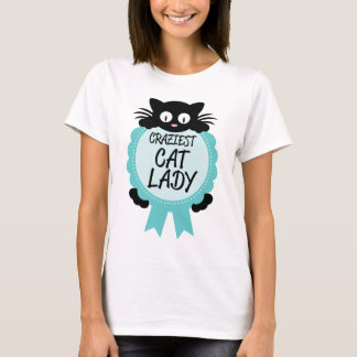 Crazy Cat Lady Craziest Award Paw Print Funny Gift T-Shirt