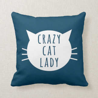 Crazy Cat Lady Funny Pillow Navy