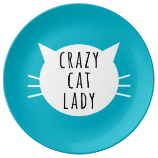 Crazy Cat Lady Funny Plate Porcelain Plates