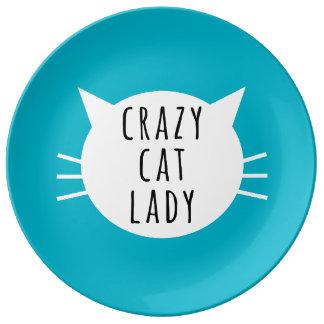 Crazy Cat Lady Funny Plate Porcelain Plates