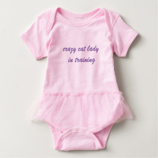 crazy cat lady in training baby tutu- script font baby bodysuit