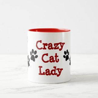 Crazy Cat Lady Pawprints Design Coffee Mug Two-Tone Mug