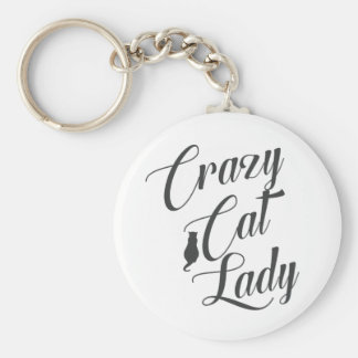 Crazy Cat Lady Pet Cat Lover Basic Round Button Key Ring