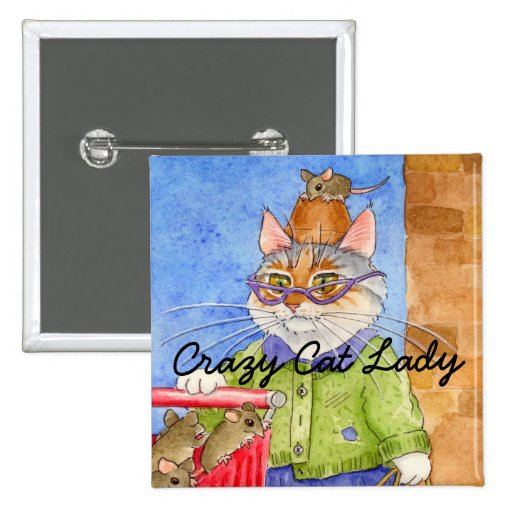 Crazy Cat Lady square pinback Button