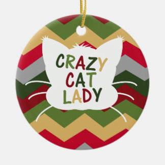Crazy Cat Lady with Christmas Color Chevron Round Ceramic Decoration