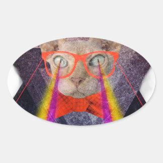 Crazy Cat Laser Beam Fantasy Oval Sticker