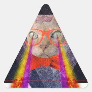 Crazy Cat Laser Beam Fantasy Triangle Sticker