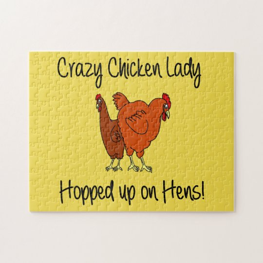 Crazy chicken Lady Jigsaw Puzzle