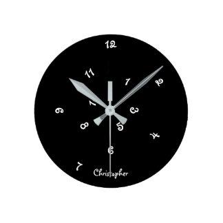 Crazy Cool Black Jumbled Hours Custom Name Kids Wall Clock