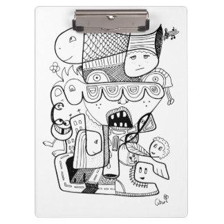 Crazy doodle black sketch clipboard