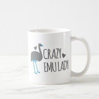 crazy emu lady coffee mug