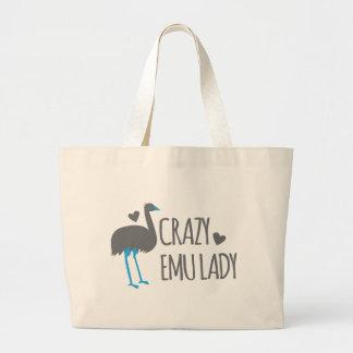 crazy emu lady large tote bag