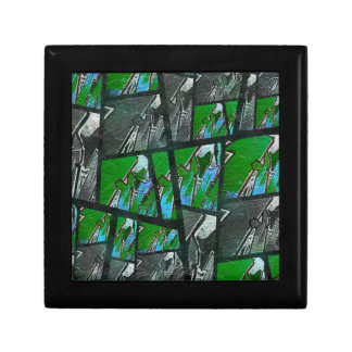 Crazy Green Black Abstract Texture Gift Box