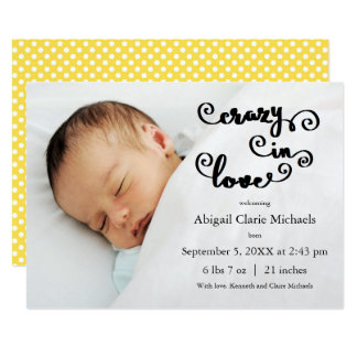 Crazy in Love Yellow - Birth Announcement