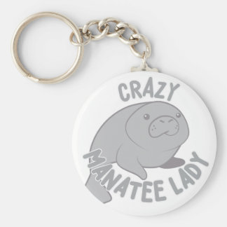Crazy Manatee Lady Key Ring