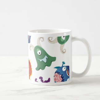 Crazy Monsters Fun Colorful Patterns for Kids Basic White Mug