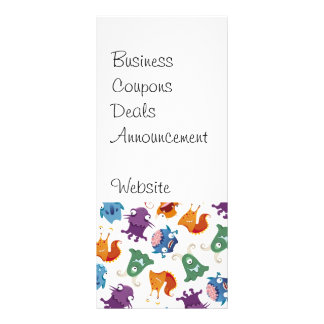 Crazy Monsters Fun Colorful Patterns for Kids Rack Card