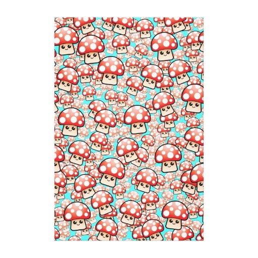 Crazy mushroom vector pattern canvas print