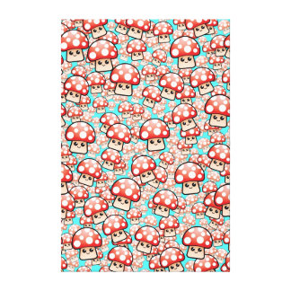 Crazy mushroom vector pattern canvas prints