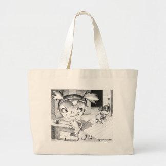 Crazy Sewing Girl Jumbo Tote Bag