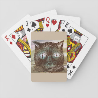 Crazy Steampunk Clock Eyes Cat Brown Playing Cards