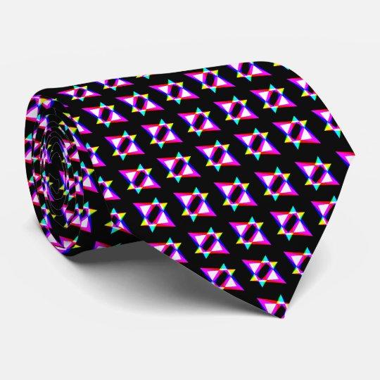 Crazy Triangles Black Background Tie