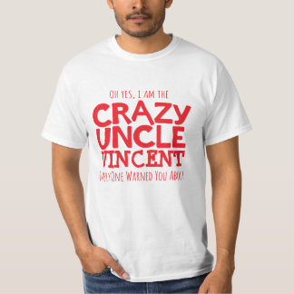 Crazy Uncle named red typographic slogan t-shirt