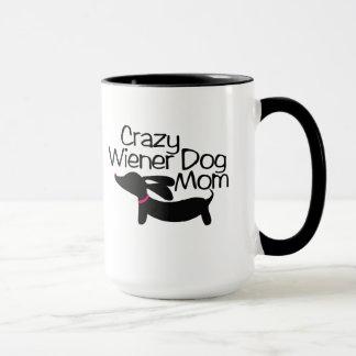 Crazy Wiener Dog Mum Ringer Coffee Mug