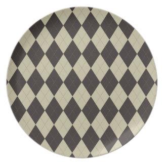 Cream and Chocolate Argyle Plate