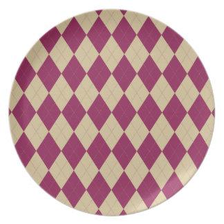 Cream and Dark Magenta Argyle Plate