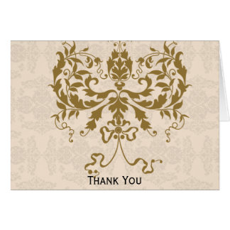 Cream and Gold Damask Card
