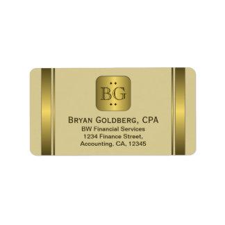 Cream and Gold Plate Elegant Address Labels
