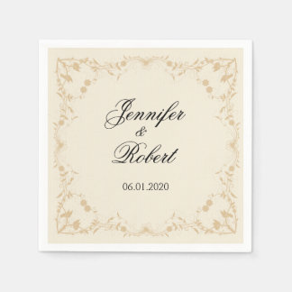 Cream and Gold Vintage Pinstripe Floral Disposable Napkins